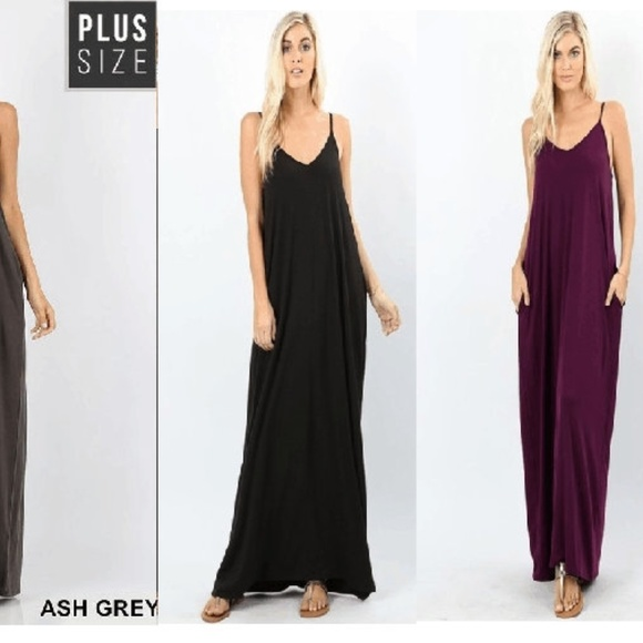 c5f823cbc00d9 NEW PLUM PLUS MAXI OVERSIZED DRESS POCKETS FIRM. Boutique. Zenana Outfitters